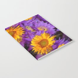 YELLOW SUNFLOWERS AMETHYST FLORALS Notebook