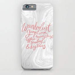 Wanderlust Words - Pink on Marble iPhone Case