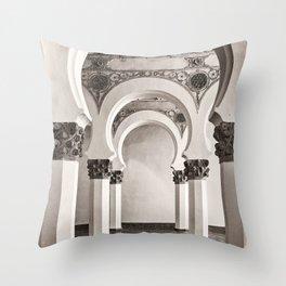 The Historic Arches in the Synagogue of Santa María la Blanca, Toledo Spain Throw Pillow