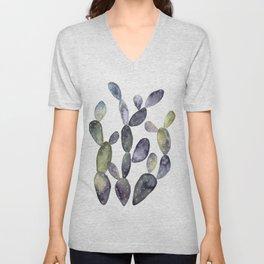 Watercolor violet cactus bunch Unisex V-Neck