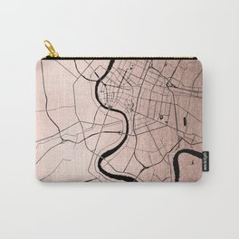 Bangkok Thailand Minimal Street Map - Rose Gold Pink and Black Carry-All Pouch