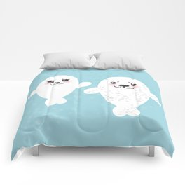set Funny white fur seal pups, cute winking seals with pink cheeks and big eyes. Kawaii animal Comforters