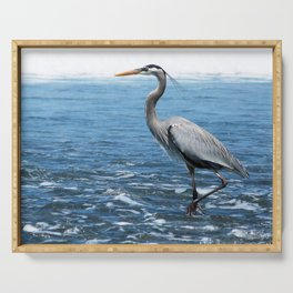 Great Blue Heron on the Pacific Coast in Costa Rica Serving Tray