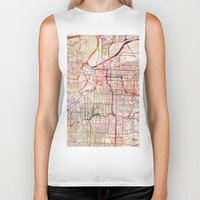 kansas city Biker Tanks featuring Kansas City by MapMapMaps.Watercolors