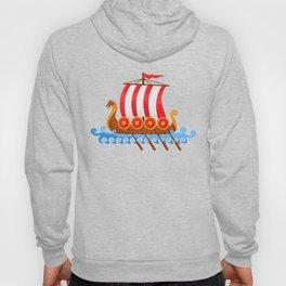 Cartoon Viking Ship Hoody
