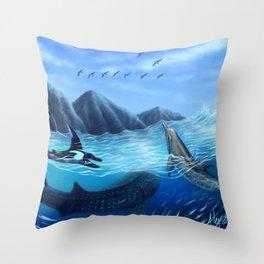 Blue Harmony Throw Pillow