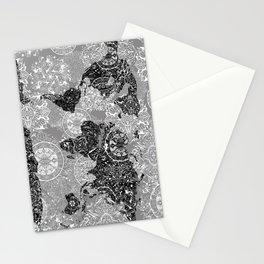 world map mandala black and white 1 Stationery Cards