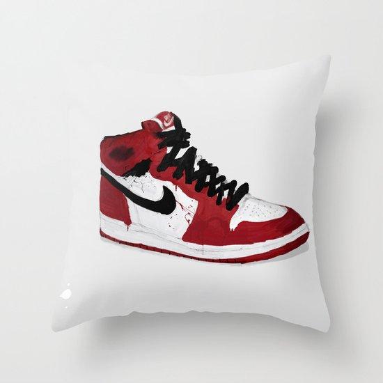 Nike Air Force 1 - Retro - Red & Black & White Throw Pillow