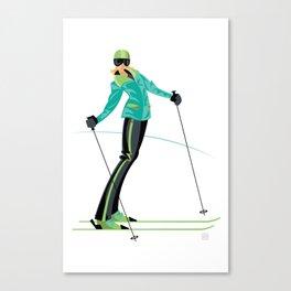 Ski Girl Lean Back Canvas Print