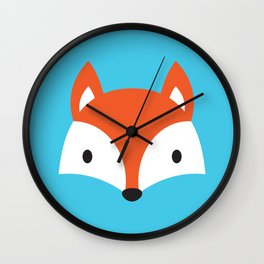 Cute Fox / Blue / Orange Wall Clock