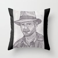 indiana Throw Pillows featuring Indiana by jamestomgray