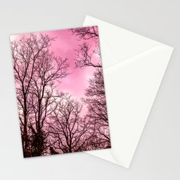 Pink sky, naked scary trees Stationery Cards