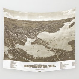 Vintage Pictorial Map of Oconomowoc WI (1885) Wall Tapestry