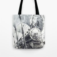 train Tote Bags featuring Train by Grim Dream Art