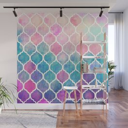 Rainbow Pastel Watercolor Moroccan Pattern Wall Mural