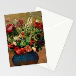 """Odilon Redon """"Pavots et Oeillets de Poète dans un Vase Bleu"""" Stationery Cards"""
