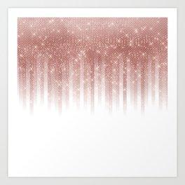 Girly Glamorous Rose Gold Glitter Striped Gradient Art Print