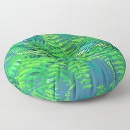 Fern, floral art, forest plants, green & blue Floor Pillow