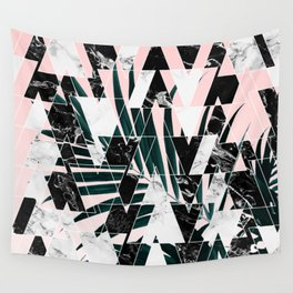 Modern geometric triangles black white abstract marble pattern palm tree leaf pink ombre Wall Tapestry