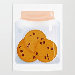 Chocolate chip cookie, homemade biscuit in glass jar Poster