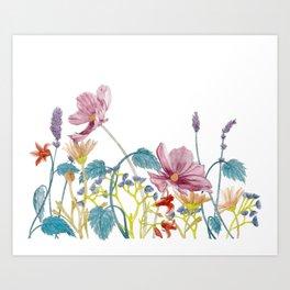 Floral Border - Mute Colours Art Print