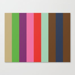 EKPHRASIS : (E)cru (K)elly Green (P)urple (H)ot Pink (R)ed (A)quamarine (S)epia (I)ndigo (S)epia.  Canvas Print