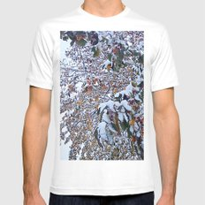 Snow on Fall Leaves 2 White MEDIUM Mens Fitted Tee