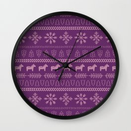 Scandinavian Christmas in Purple Wall Clock