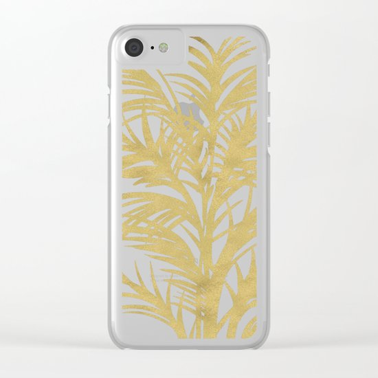 Gold Palms Clear iPhone Case