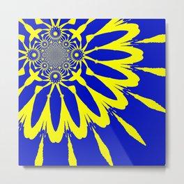 The Modern Flower Blue & Yellow Metal Print