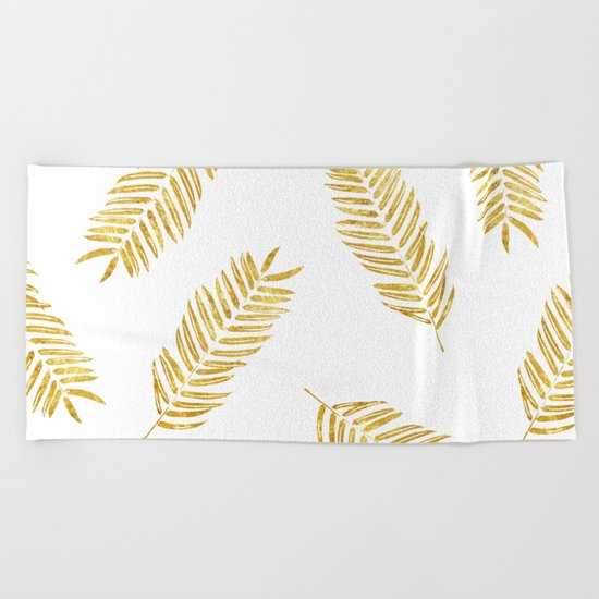 Gold Leaves Pattern Beach Towel
