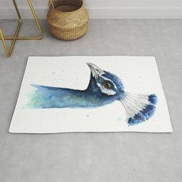 Peacock Watercolor Exotic Bird Animals Rug