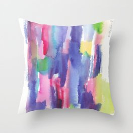 180812 Abstract Watercolour Expressionism 6| Colorful Abstract | Modern Watercolor Art Throw Pillow