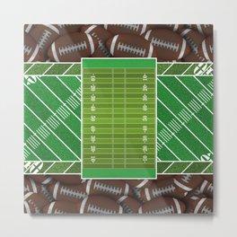 Bright Green Football Field and Footballs Metal Print