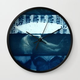 Fragments of the Past (22), art print, collage, blue print, cyanotype print, wall art, wall decor Wall Clock
