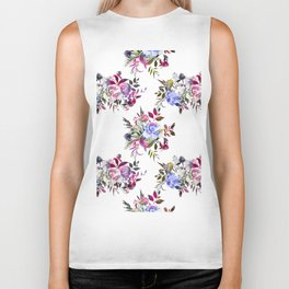 Watercolor pink violet blue hand painted floral Biker Tank