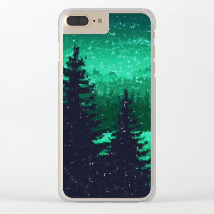 Snowing in the forest Clear iPhone Case