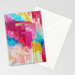 ELATED - Beautiful Bright Colorful Modern Abstract Painting Wild Rainbow Pastel Pink Color Stationery Cards