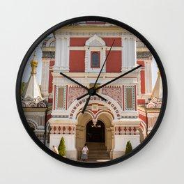 Shipka Memorial Church, Bulgaria Travel Photography, Pink Church Close Up Wall Clock