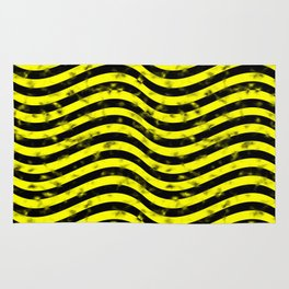 Wiggly Yellow and Black Speckle Pattern Rug