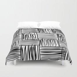 Modern Square Black on White Duvet Cover