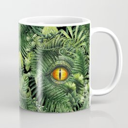 Watercolor dinosaur eye and prehistoric plants Coffee Mug
