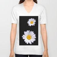 daisy V-neck T-shirts featuring Daisy  by Cozmic Photos