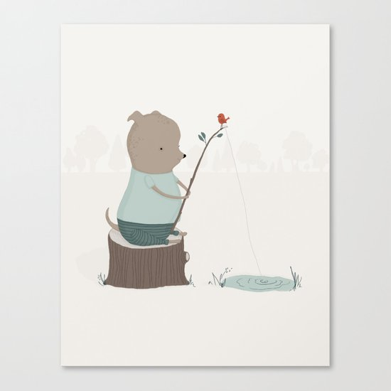 Oliver Goes Fishing Canvas Print