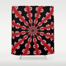 Red Black and White Abstract Shower Curtain