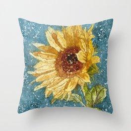 Sunflower Painting, Watercolor Sunflower, Sunflower Art,Sunflower Wall Art Throw Pillow