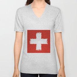 Extruded flag of Switzerland Unisex V-Neck
