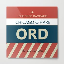 Chicago O'hare Baggage tag Metal Print