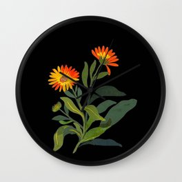 Calendula Officinalis Mary Delany Floral Paper Collage Delicate Vintage Flowers Wall Clock