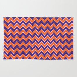 Orange and purple clemson chevron stripes university college alumni football fan gifts Rug